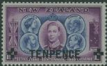 NZ SG662 10d on 1½d Light Blue and Mauve British Monarchs